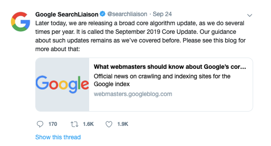 Google new September 2019 Core Update
